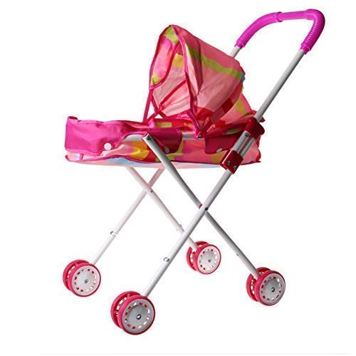 BabyGame Doll Pram Carrier Stroller with Small Wheels. Folds compactly. Fits up to 12