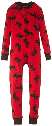 Little Blue House by Hatley Unisex Kid's Little Union Suit, Moose On Red, 6 Years