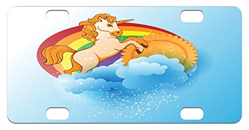 Unicorn Mini License Plate by Ambesonne, Handsome Unicorn with Single Horn on Forehead on Sun Fluffy Clouds Artwork Print, High Gloss Aluminum Novelty Plate, 2.94 L x 5.88 W Inches, (Forehead Horn)