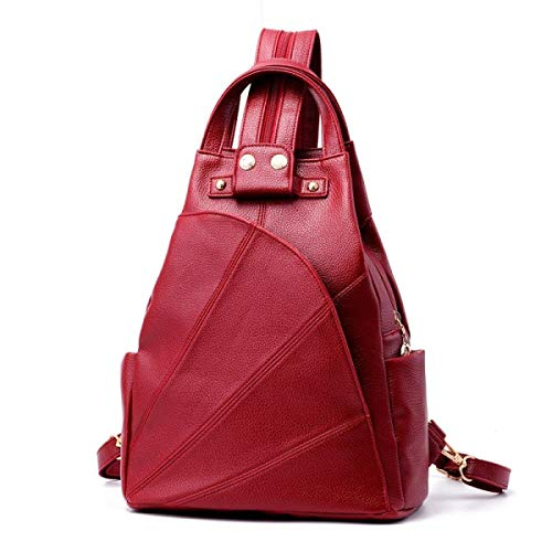 (Business Laptop Backpack Notebook Rucksack Women's Europe and The United States Fashion Shoulders Backpack Leisure Travel Bags PU Leather Chest Bag Shoulder Bag,Grey (Color : Red))