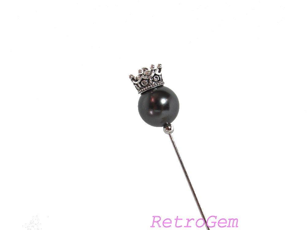 RetroGem Classic Elegance Crown Lapel Stick Pin/Brooch/Hat Pin Made With Swarovski Elements Black Pearl (Black)