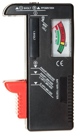 NiceEshop Battery Tester For D 9 Volt Rectangular And Button Cell Batteries