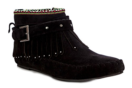 Moccasin Ankle Bootie Fringe Albert Women's Black Charles tqw6PBna