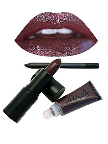 Dark Red Lipstick, Lipliner and Lip Gloss Set by Addictive Cosmetics- All Natural Organic Lipstick, Liner and Lip Gloss- Vegan Friendly and Cruelty Free Cosmetics- Made in the USA- RAISIN ()