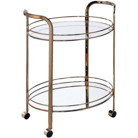Furniture of America Ayana Mobile Kitchen Cart, Champagne