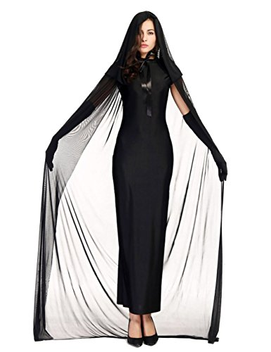 Colorful House Women's Halloween Costume Black Ghost Zombie Dress Cloak Outfit, Size XL,US 12-16 (Black Dress Halloween Costumes)