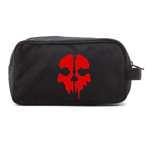 Call of Duty Ghost Skull Logo Canvas Shower Kit Travel Toiletry Bag Case in Black & Red
