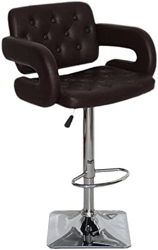 US Pride Furniture Olivia Collection Modern Faux Leather Upholstered Adjustable Swivel Bar Stool with Tufted Finish and Open Arms Black