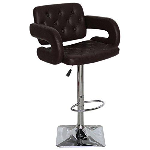 US Pride Furniture Olivia Collection Modern Faux Leather Upholstered Adjustable Swivel Bar Stool With Tufted Finish and Open Arms Black (Armed Bar Stool)