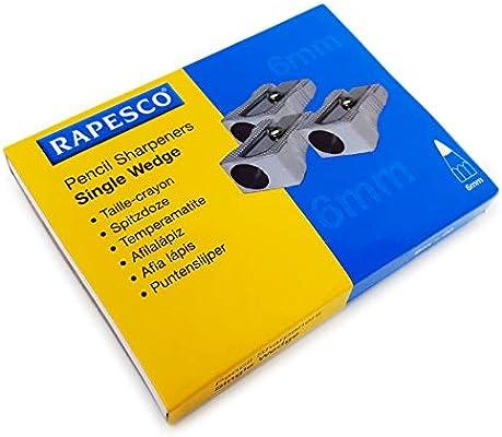 Rapesco - Sacapuntas de metal con un solo agujero y diseño de cuña de 6 mm, caja de 20 sacapuntas: Amazon.es: Oficina y papelería