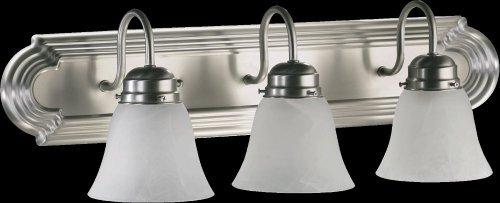 - Quorum International 5094-3-165 Vanity Lights with Alabaster Swirl Glass Shades, Satin Nickel