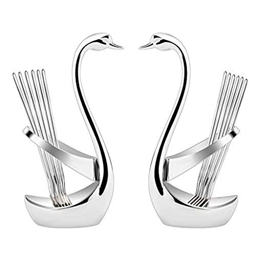 Swan Shaped Style Tableware by ALZERO, 2pcs Zinc Alloy Fork Spoon Storage ()