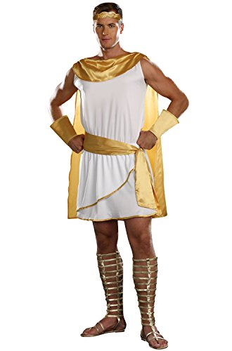 Male Toga Costume Party (Dreamgirl Men's He's A God Costume, White,)
