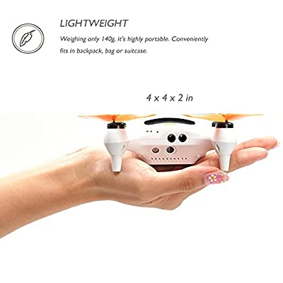 ONAGOfly Smart NANO Drone with 15MP Camera 1080P FHD 30fps Live Video WiFi 4CH 6-Axis Gyro RC Quadcopter with GPS, One touch take-off and landing for Beginners or Kids on Smartphone Mini Drone from Onago