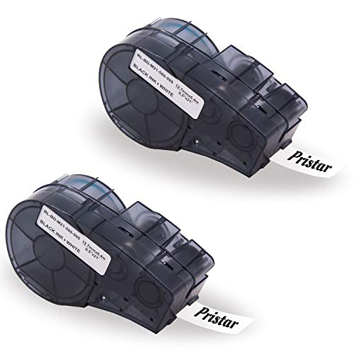 0.5' Length Labels - Pristar Replacement for Brady M21-500-595-WT 1/2' Black on White High Adhesion Vinyl Film Label Tape, 21' (6.4m) Length, 0.5' (12.7mm) Width, Work for Brady BMP21-PLUS Handheld Label Printer, 2 Pack