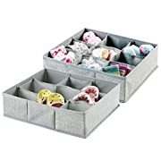 mDesign Soft Fabric 9 Section Dresser Drawer and Closet Storage Organizer for Child/Baby Room, Nursery, Playroom – Divided Large Organizer Bin - Textured Print, Pack of 2, Gray