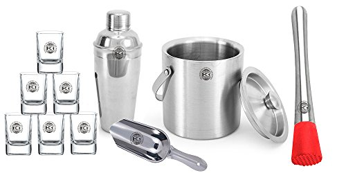 King International 100% Stainless Steel Bar Set | Bar Tools | Bar Accessories Set Of 10 Pieces Includes 6 Shot Glasses | Ice Bucket | Cocktail Shaker | Ice Picker | Muddler | by King International