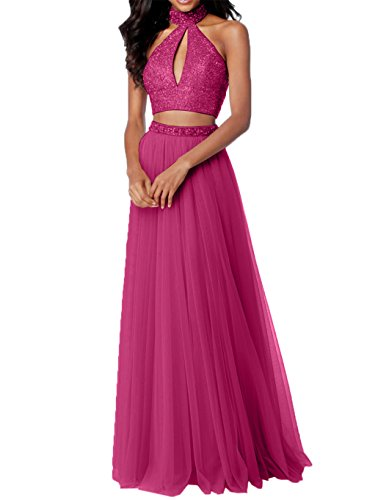 Abendkleider Steine Tuell Teilig Abschlussballkleider Fuchsia Rosa mit Charmant Promkleider Damen Zwei Abiballkleider BTXq6ERxw