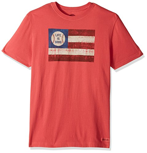 Life is good Men's Crusher Tee Baseball Flag Amrred T-Shirt, Americana Red, Large