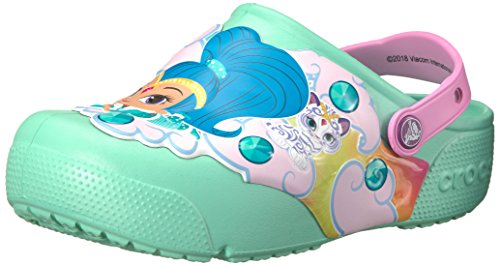Crocs unisex-baby Nickelodeon Fun Lab Shimmer & Shine Light-Up Clog, New Mint, 7 M US Toddler