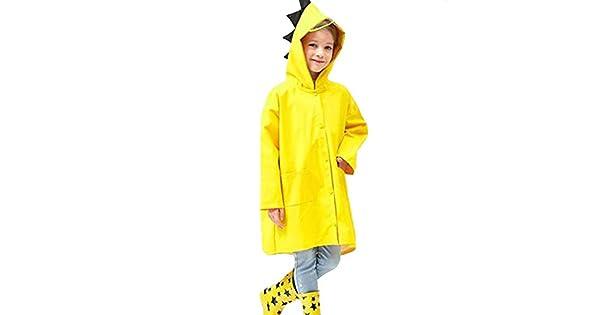 Hosim Kids Raincoat for Girls and Boys Childrens Waterproof Rainwear with Backpack Cover