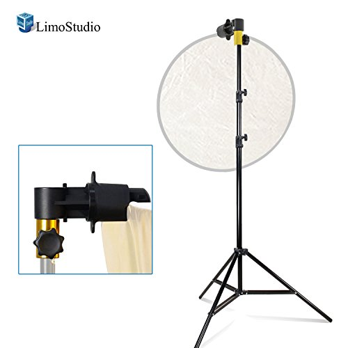 LimoStudio Photography Reflector Disc Holder Clip with 7.5 ft. Light Stand and Enhanced Thicker Pole Construction to Prevent Wobbling and Bending, For Photo and Video Studio, AGG2783 by LimoStudio