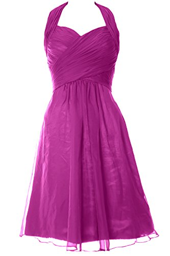 MACloth Gown Elegant Fuchsia Wedding Dress Halter Short Bridesmaid Cocktail Party 1A8r1