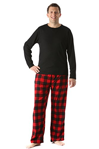 45910-1A-L #FollowMe Polar Fleece Pajama Pants Set for Men / Sleepwear / PJs, Black Top / Red Buffalo Plaid Pant, L (Pants Pajama Set Flannel)