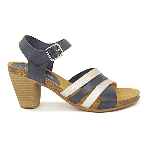 Sandalia Tacon Medio En Piel Azul Azul