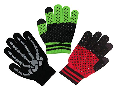 N'Ice Caps Boys Magic Stretch Gloves 3 Pair Pack Assortment (Black Skeleton/Neon Green Black/Navy Red, 6-12 Years)