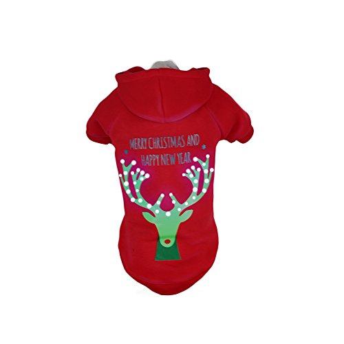 PET LIFE 'Christmas Reindeer' LED Lighting Fashion Designer Holiday Christmas Pet Dog Costume Sweater Hoodie w/ Included Batteries, Medium, Red Deer