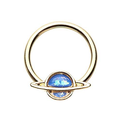 Golden Saturn Planet Glitter Opal 316L Surgical Steel Freedom Fashion Captive Bead Ring (16GA, 3/8