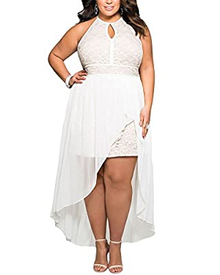 Lalagen Women's Plus Size Halter White Lace Wedding Party Dress Maxi Dress