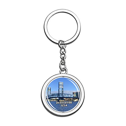 USA United States Keychain Jacksonville Key Chain 3D Crystal Spinning Round Stainless Steel Keychains Travel City Souvenirs Key Chain Ring