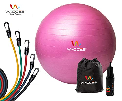 Wacces Professional Exercise, Stability Yoga Ball & 5 - Level Latex Tube Variable Resistance Band Set (Pink Ball)
