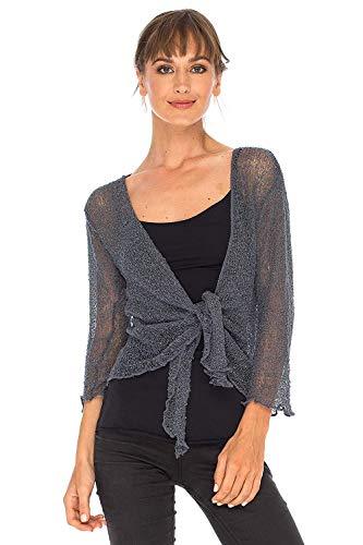 SHU-SHI Womens Sheer Shrug Tie Top Cardigan Lightweight Knit,Grey,One Size ()