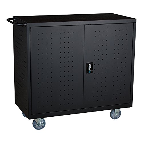 Extra Cart - Learniture 24-Outlet Extra-Wide Locking Laptop/Tablet Unassembled Charging Cart, Black, NOR-GNO1006-PK-SO