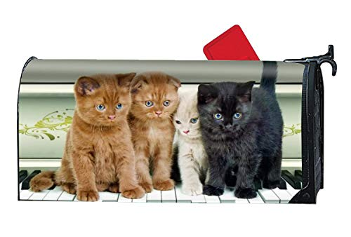 zlove Animal Cats Piano Custom Magnetic Mailbox Cover Mail Wrap Vinyl for Standard Mailboxes Size 9