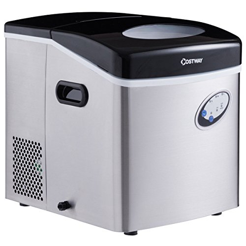 Costway Portable Steel Ice Maker Machine for Counter Top Makes 48 lbs per Day Electric Ice Making Machine - Get Ice in as quick as 7-15 Minutes