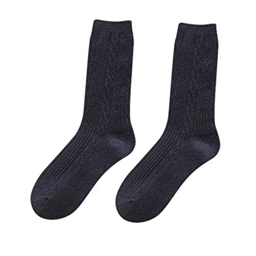 Sagton Kvinners Ull Blanding Solide Kne-sokker Solid Vinter Boot Sokker Navy