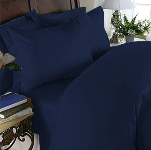 Elegant Comfort 1500 Thread Count Wrinkle Resistant Egyptian Quality 2-Piece Duvet Cover Set, Twin/Twin X-Large, Navy Blue (Blue Duvet Twin Cover White Red)