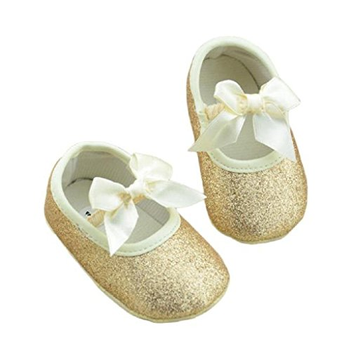 Koly Zapatos primeros pasos para bebé-niñas, pasos niñas, Anti-slip zapatos de bebé de brillo (L, Oro) dorado