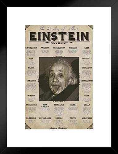 Pyramid America Wisdom of Albert Einstein Famous Quotes Matted Framed Poster 20×26 inch