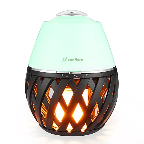 Zanflare LED Flame Lamp Aroma Diffuser, Flicker Atmosphere Lamp with Ultrasonic Aroma Air Diffuser, Mist Ultrasonic Aroma Humidifier Oil Diffuser, LED Color Changing Timer Function Dancing Flame Light