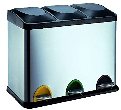 Edelstahl Mülleimer 45 Liter 3 Behälter Mülltrennung (Treteimer,  Abfalleimer, 3 X 15 Liter