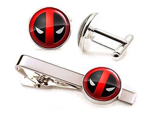 Deadpool Tie Clip, Avengers Cufflinks, Xmen Tie Tack, Marvel Jewelry, Cuff Links Link, Groomsmen Gift Wedding Party Gift