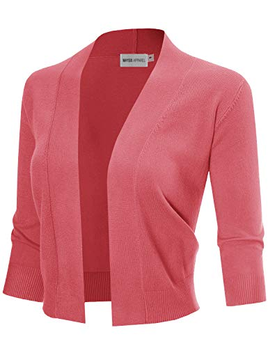 - MAYSIX APPAREL 3/4 Sleeve Solid Open Bolero Cropped Cardigan For Women CORAL L