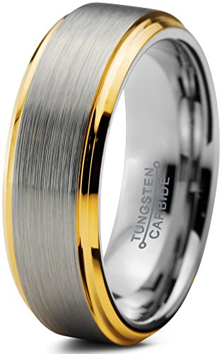 (Charming Jewelers Tungsten Wedding Band Ring 6mm for Men Women Comfort Fit 18K Yellow Gold Plated Beveled Edge Brushed Polished Size 10)