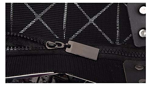 geometrica nero casual lucida Borsa Caffè plaid donne Borsa piegata delle Tote XF6nvFA