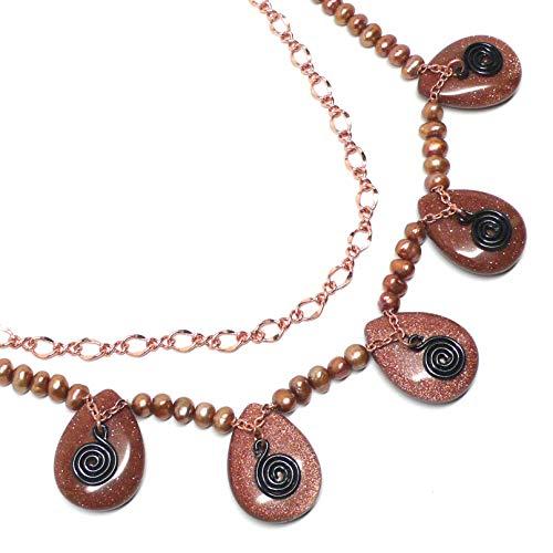 Goldstone Teardrop Copper Chain Spiral Layered Statement Necklace